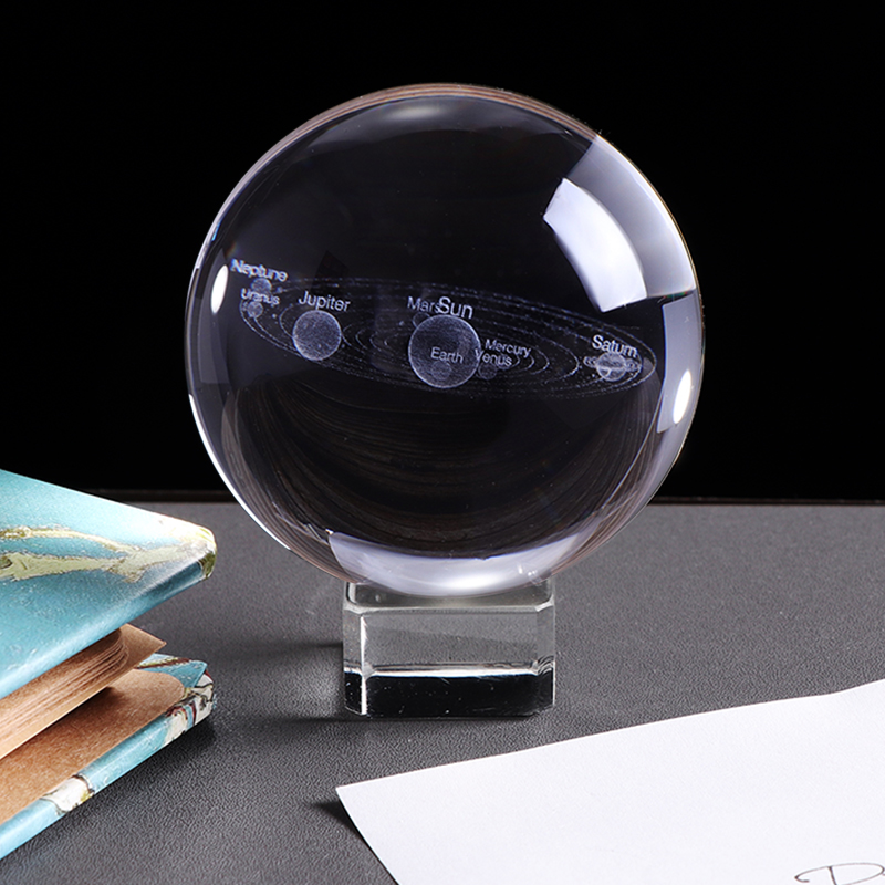 3D Solar System Crystal Ball Planets Glass Ball Laser Engraved Globe Miniature Model Home Decor Gift