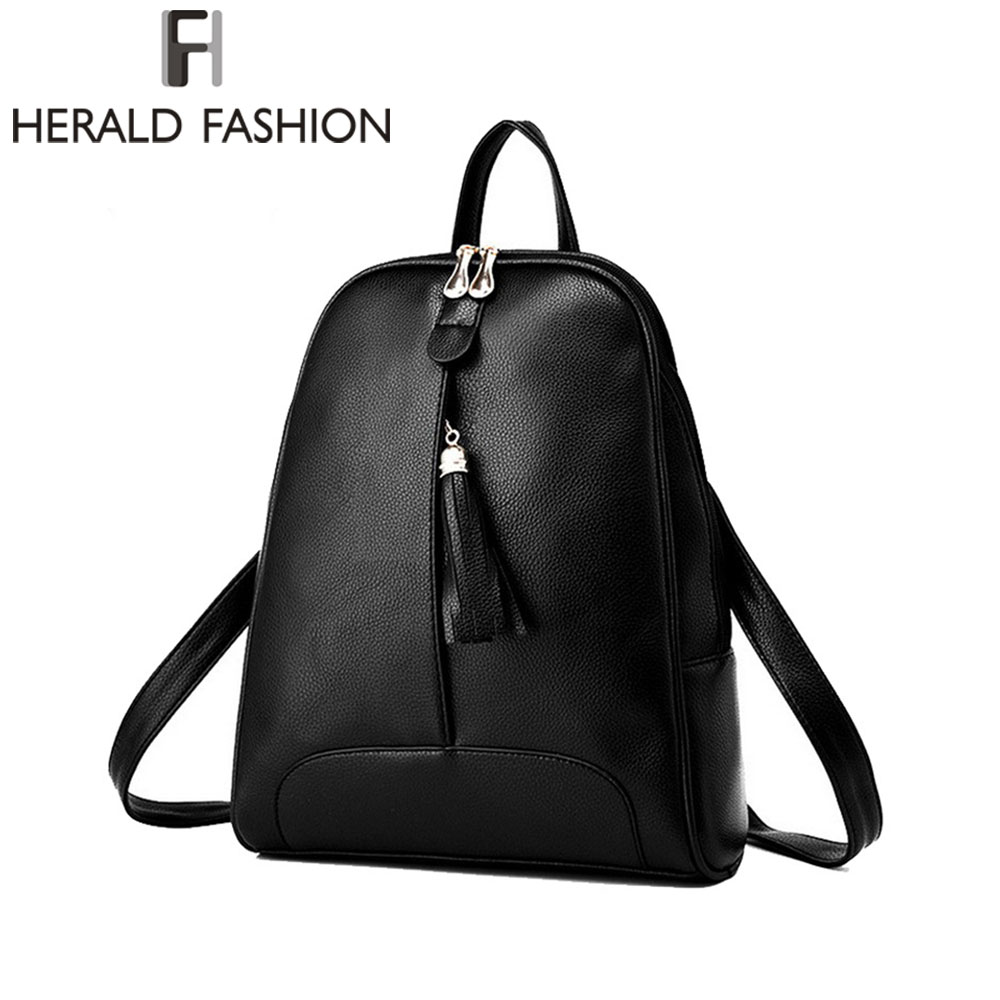 Herald Fashion Tassel Casual Daily Backpacks School Bags for Teenage Girls Women Leather Backpacks Youth Laptop