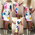 2017 NEW Fashion Summer Dress Vestido Bandage Party Pink Printing Short Sleeve Women Dresses Sexy Dress Vestidos Femininos