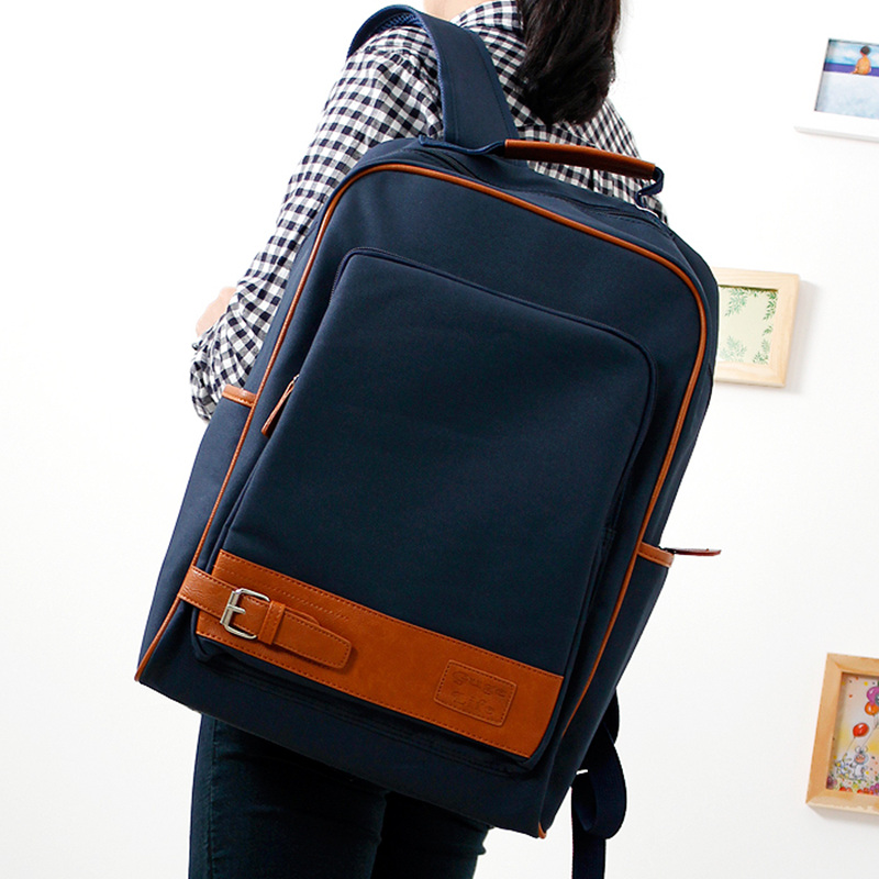 ФОТО Fashion simple square school students beautiful square  backpack  cross body bag canvas solid blue color bag