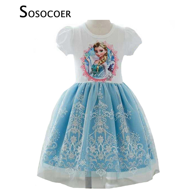 где купить SOSOCOER Girls Princess Dress Anna Elsa Dress Children Clothing New Summer Brand Lace Toddler Girl Dresses Kids Clothes Outfits по лучшей цене