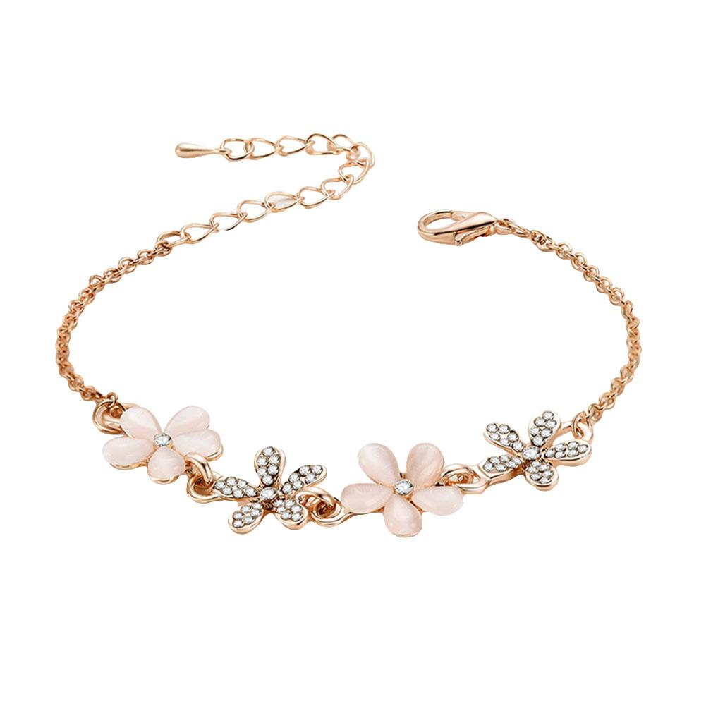 Women Trendy Rhinestone Flower Floral Jewelry Adjustable Pendant Lock Rose Gold Color Bracelet Gift
