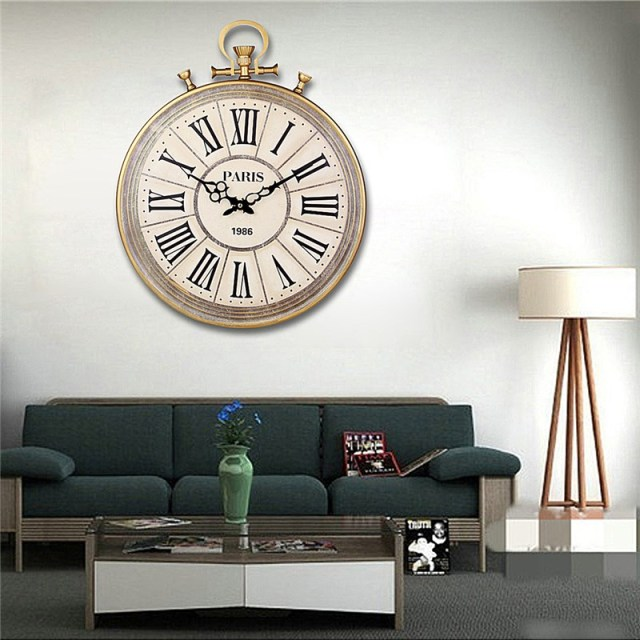 Charminer Absolutely Mute Quartz Wall Clock Retro Roman Numerals Large Living  Room Black Ornate Clock Hand Part 65