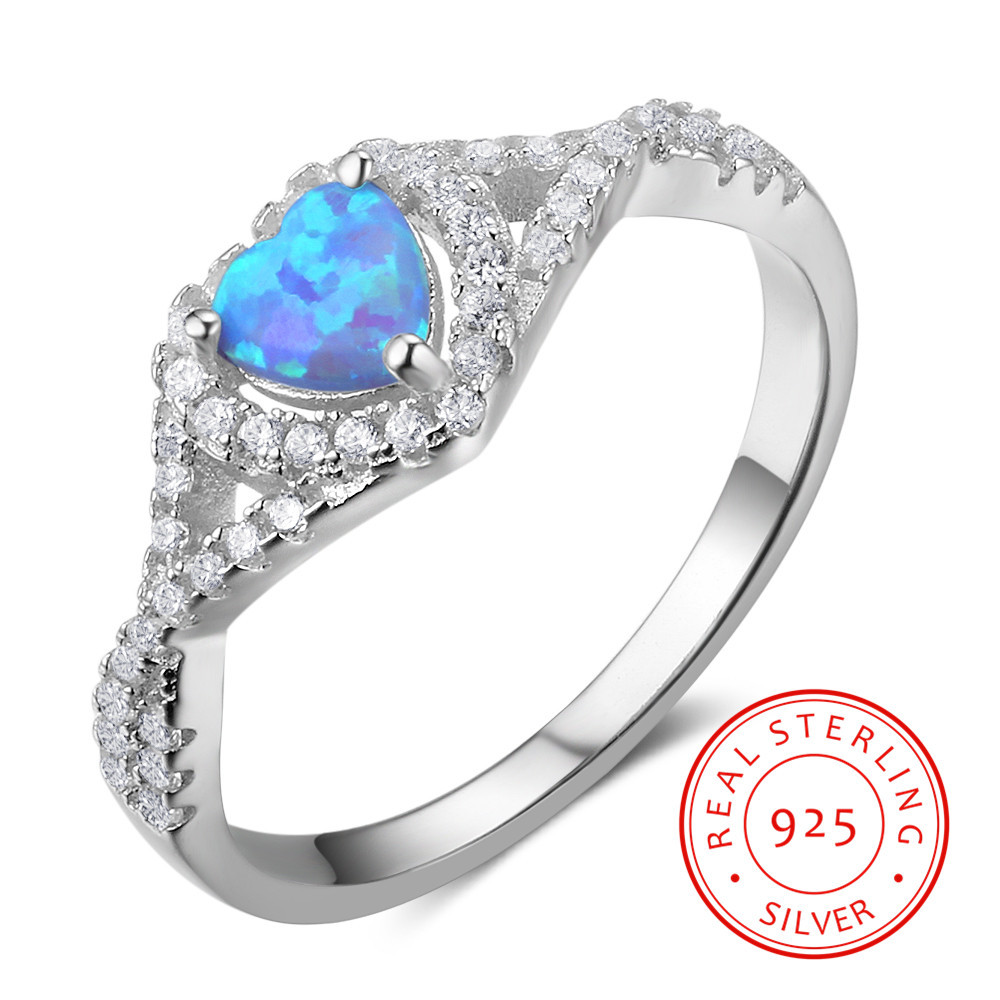 Simple Silver 925 Ring Love Heart Blue Opal With Cubic Zirconia 925 Sterling Silver Rings for