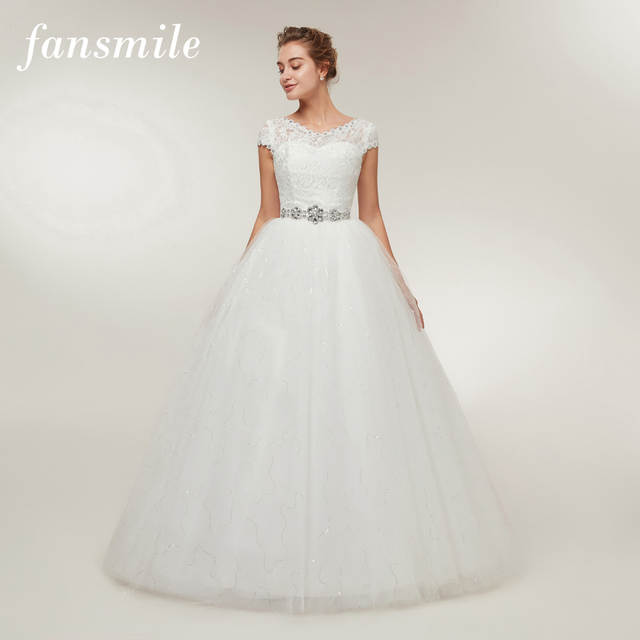Fansmile Free Shipping 2019 Cheap Lace Vintage Plus Size Wedding Dresses  Vestidos De Novia Bridal Dress Robe de Mariee FSM-052F