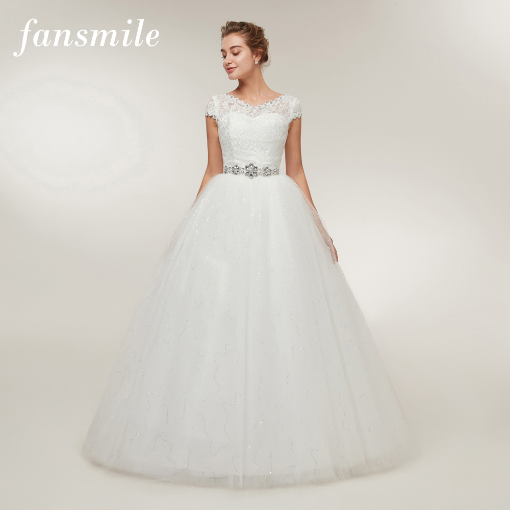 Fansmile Free Shipping 2020 Cheap Lace Vintage Plus Size Wedding Dresses Vestidos De Novia Bridal Dress Robe De Mariee FSM-052F
