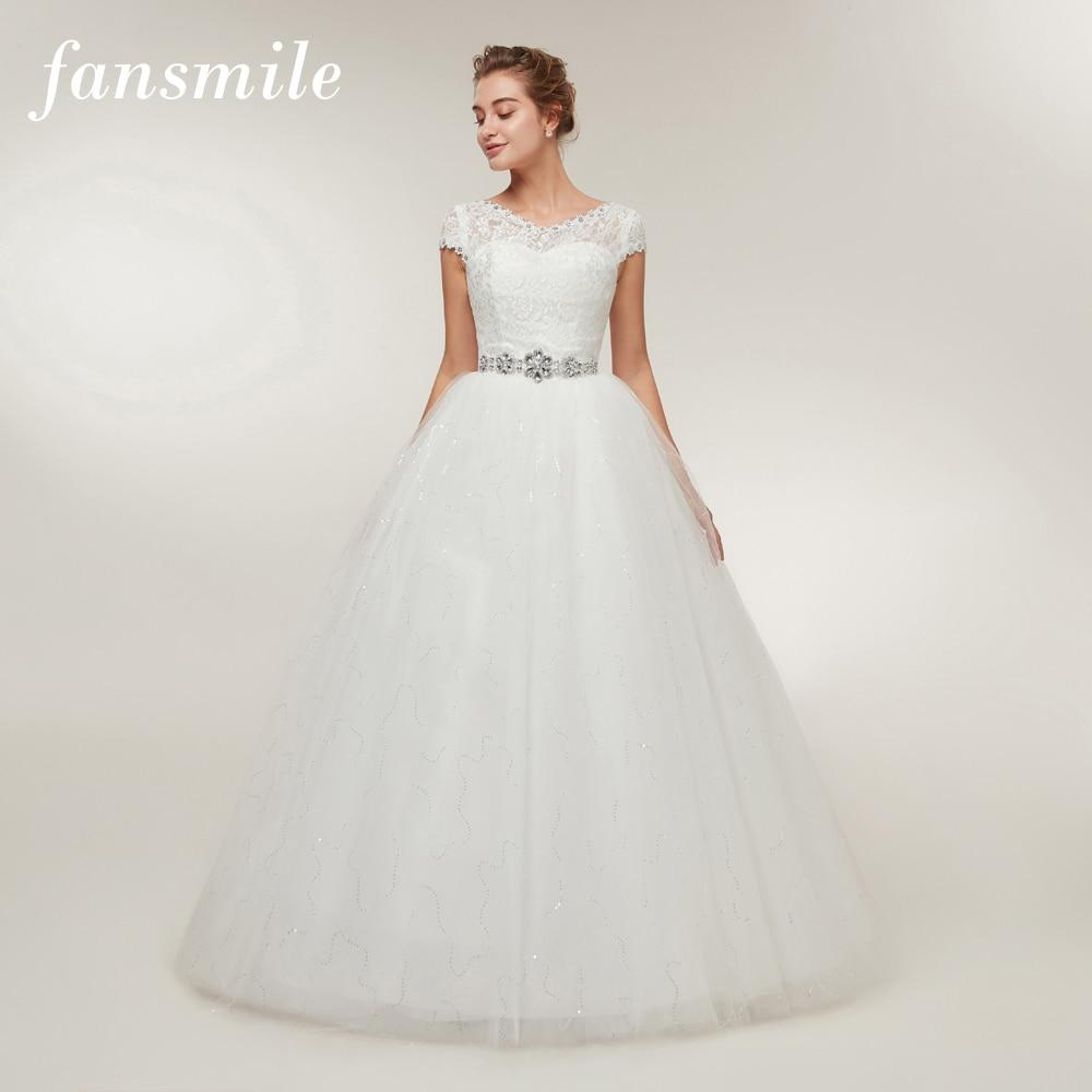 Fansmile Free Shipping 2020 Cheap Lace Vintage Plus Size Wedding Dresses Vestidos De Novia Bridal Dress Robe De Mariee FSM-052F