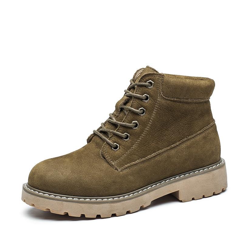 Alta Martin Corta khaki Zapatos wheat Botas Calidad Libre Otoño black Botines brown sand Al Aire Retro Black Mujeres Cuero Auténtico Nuevas Invierno Ii 5UWT8ZqP