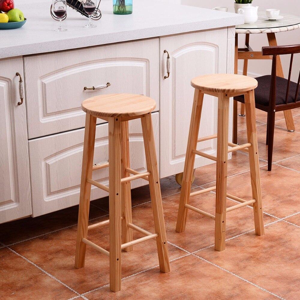 Giantex Set of 2 Round 29 Bar Stools Wood Bistro Dining Kitchen Pub Chair Furniture New Living Room Furniture HW54782 цена