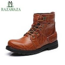 RAZAMAZA Men Genuine Leather Ankle Boots Plush Fur Insloe Warm Men Snow Boots Winter Outdoor Waterproof Male Footwear Size 38-45