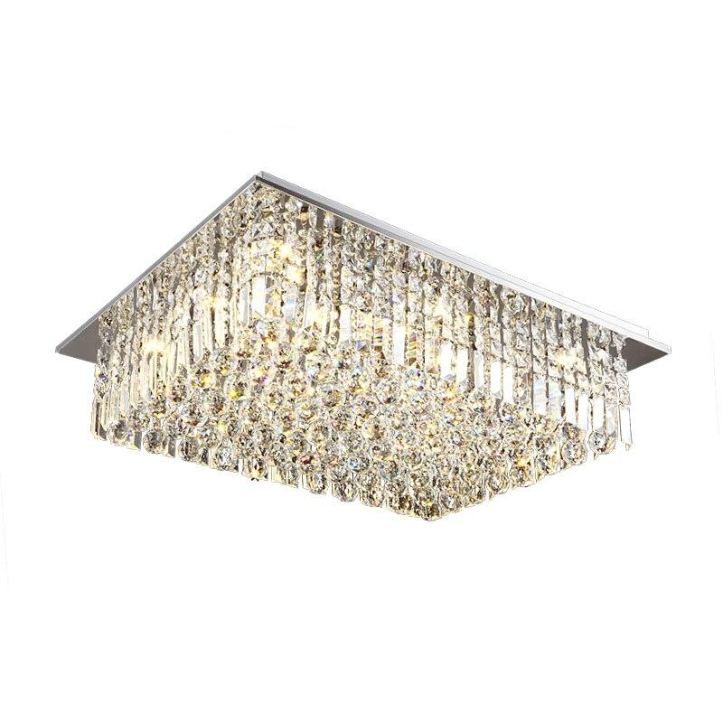 Simple moderne LED rectangulaire salon cristal lampe chambre 1 m 1.2 m hôtel lobby plafonnier luminaire LED cristal