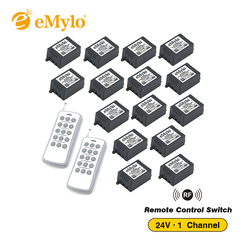 eMylo Universal DC 24V Learning Smart Switch Wireless RF Remote Control Light Switch Transmitter 15X 1 Channel Relays 433Mhz