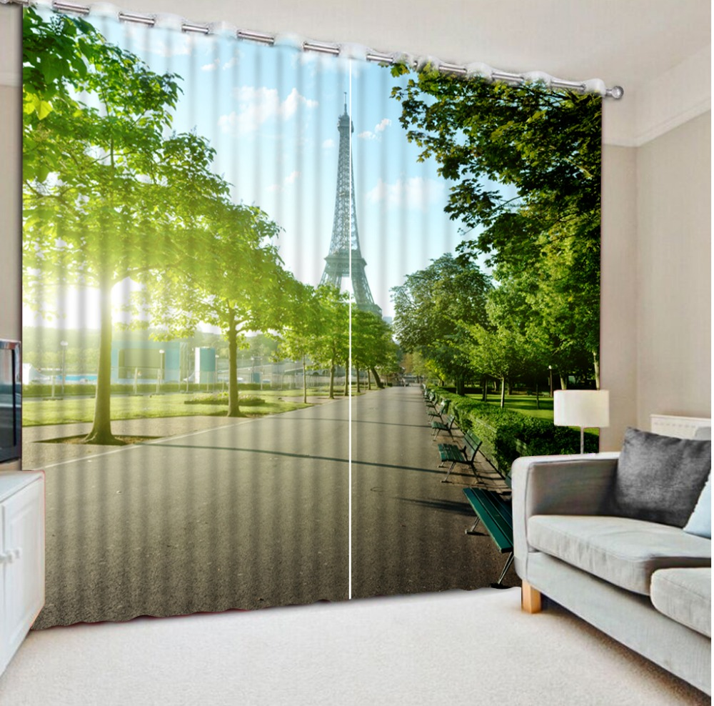 Curtains For Living Room Modern 3d Tower Park Landscape Fashion Home Decor Beautiful