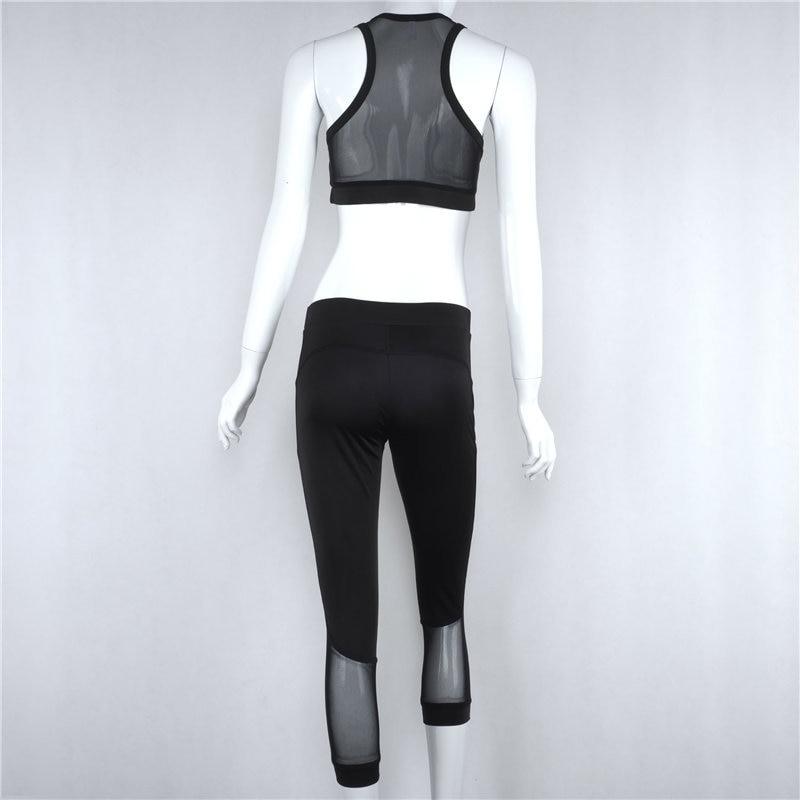 YSMARKET Fashion Sportswear Women Sleeveless Sexy Black Mesh Jumpsuit Fitness 2 Piece Set Womens Short Jumpsuits Rompers Y9001