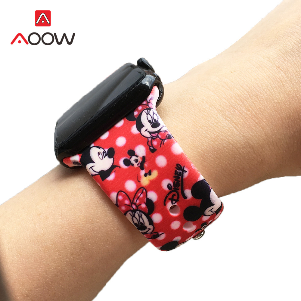 Soft Silicone Watchband For Apple Watch 4 40mm 44mm 38mm 42mm Mickey Flower Printing Sport Bracelet Strap Band For IWatch 1 2 3