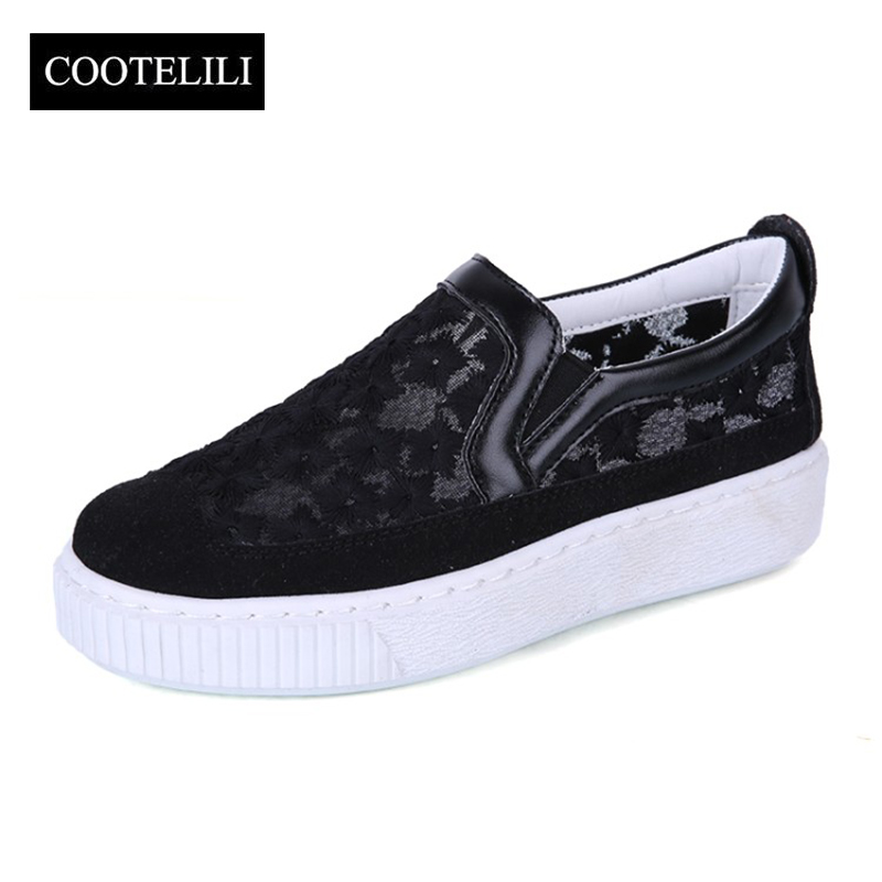 COOTELILI 35-40 Plus Size Spring Solid Flats Casual Women Shoes Slip-On Flower Mesh Loafers Breathable Leisure Ladies Shoes tangnest new embroider women flats casual flower printed ballet flats solid pu leather leisure shoes woman size 35 40 xwc1233