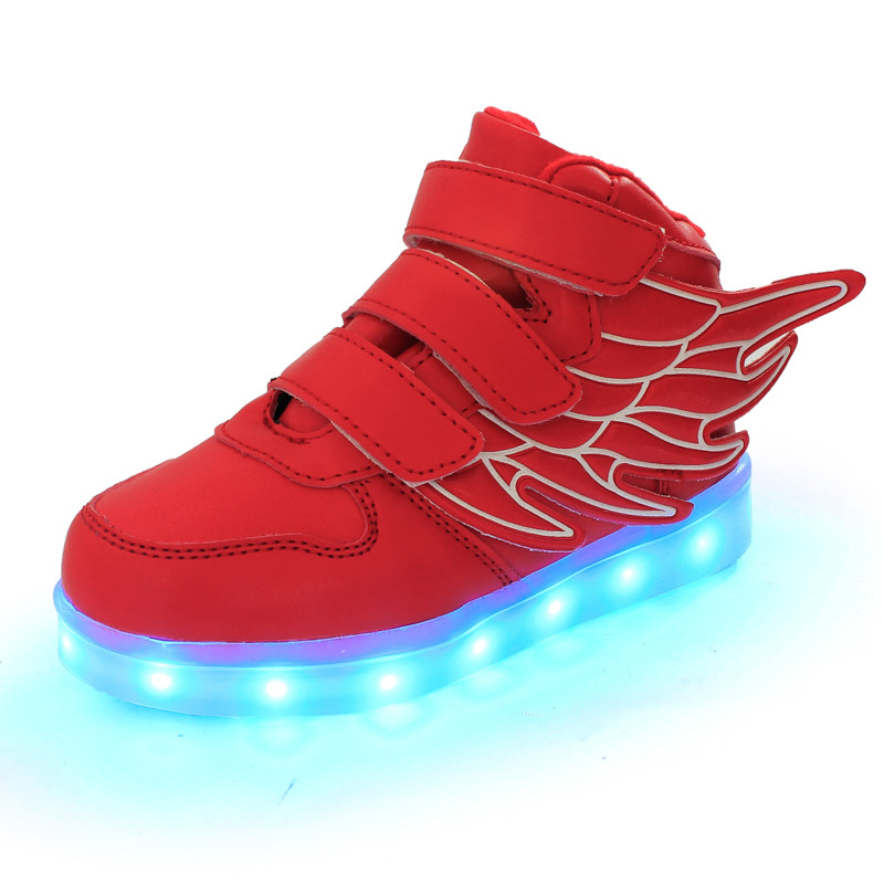 Kids-Shoes-Boys-Girls-Fashion-LED-Lights-USB-toddler-Luminous-Wings-Sneakers-Children-Comfortable-Flats-Sports-Top-high-football-5
