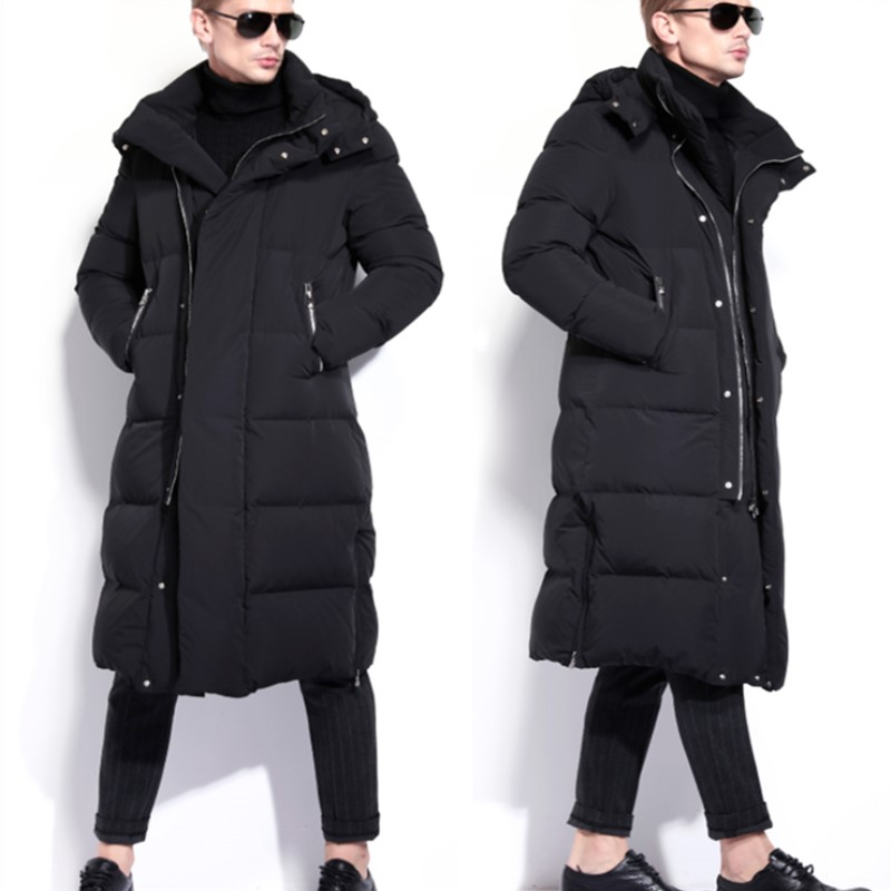 Winter Snowimage Men's Goose   Down     Coat   Male Hooded Ultra Long Paragraph Thicken Solid Over-the-knee Thick   Coat