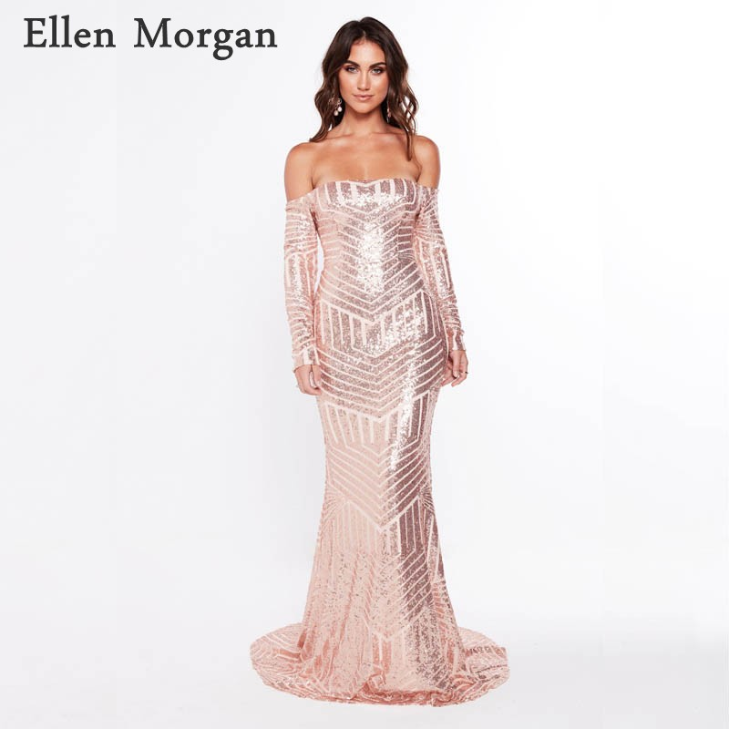 Rose Off Shouler Long Sleeves Mermaid   Evening     Dresses   2019 Event Red Carpet Celebrity Formal Prom Party Gowns for Women Wear