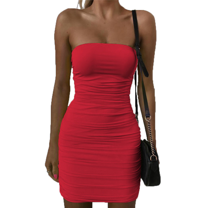 Bodycon Dress  Clothes  Sexy & Club  A-Line  Solid  Sleeveless  Knee-Length  Strapless  Slash Neck  Sexy Dress Robe Longue