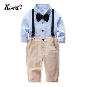 Kimocat lato w stylu baby boy odzież zestaw noworodka odzież dla niemowląt 2 sztuk z długim rękawem t-shirt + szelki dżentelmen garnitur