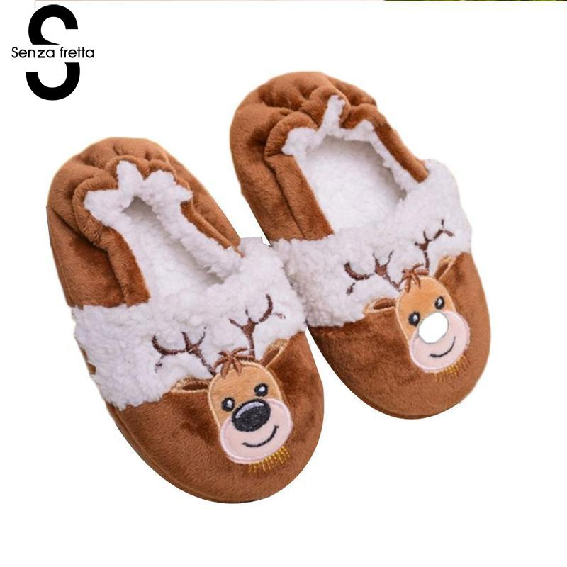 Senza Fretta Christmas Children's Cotton Slippers Indoor Mute Boys Girls Santa Cartoon Home Claus Day Gifts Design Cute Slippers cartoon christmas santa claus printed home decor pillow case