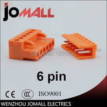 цена на 5.08mm Pitch 6 pin 6 way orange color Terminal Block Plug Connector