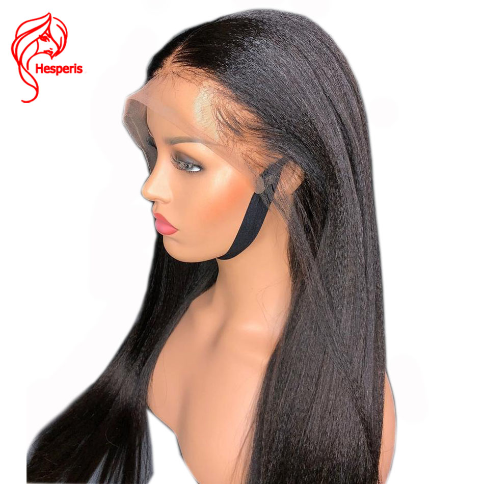 Hesperis Yaki Straight Lace Front Wigs Pre Plucked Remy Human Hair Lace Front Wigs For Women