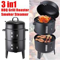 Portable 3 in 1 BBQ Grill Roaster Steamer Barbecue Grill Outdoor Camping Charcoal Stove grill Metal