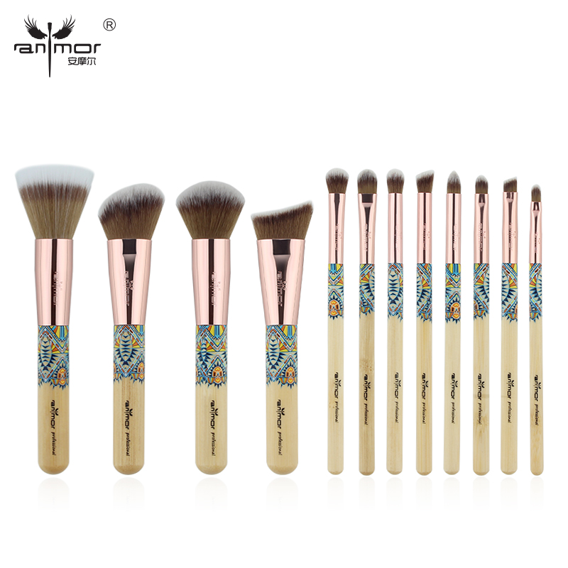 цена на Anmor New 12PCS Make Up Brushes Bamboo Professional Makeup Brush Set Soft Synthetic Cosmetics Brush Kit