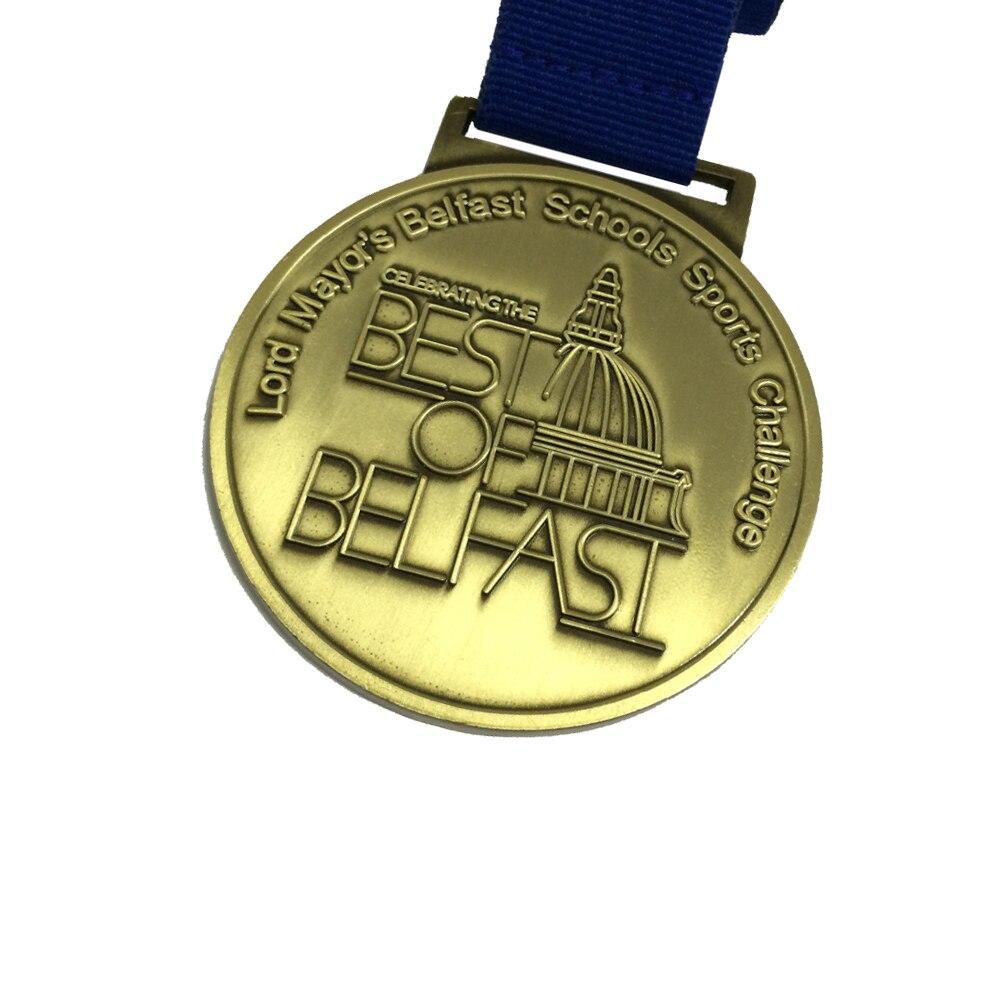 Medaille Custom Award Medaille 50.8mm (2 inch) diameter Medaille met Standaard Lint Antiek Messing of Antiek Zilver Medaille-in Non-valuta Munten van Huis & Tuin op  Groep 2