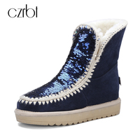 CZRBT Brand New Fashion Women Boots Winter Snow Boots Genuine Cow Leather Sequins Round Toe Australia