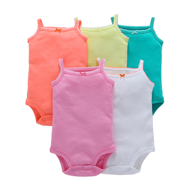 5 Pieces Lot Baby Bodysuits Gril Summer Solid Sling Sleeveless Cotton Pink White Green Baby Jumpsuit