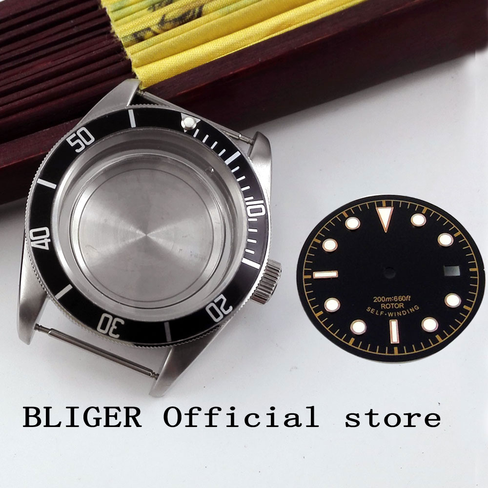 Sapphire Crystal 41MM Stainless Steel Black Bezel Watch Case+Dial Fit For ETA 2836 Automatic Movement C38Sapphire Crystal 41MM Stainless Steel Black Bezel Watch Case+Dial Fit For ETA 2836 Automatic Movement C38