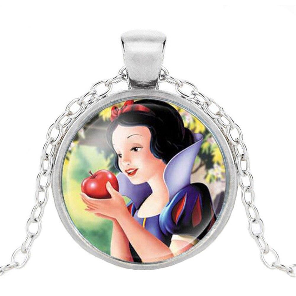 Новая мода популярное женское ожерелье Кристалл ювелирные изделия выпуклая круглая Принцесса Подвеска Ожерелье Девушка - Окраска металла: 19