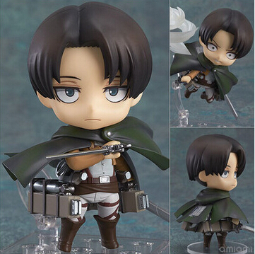 NEW hot 10cm Q version Attack on Titan Levi Rivaille Rival Ackerman mobile action figure toys