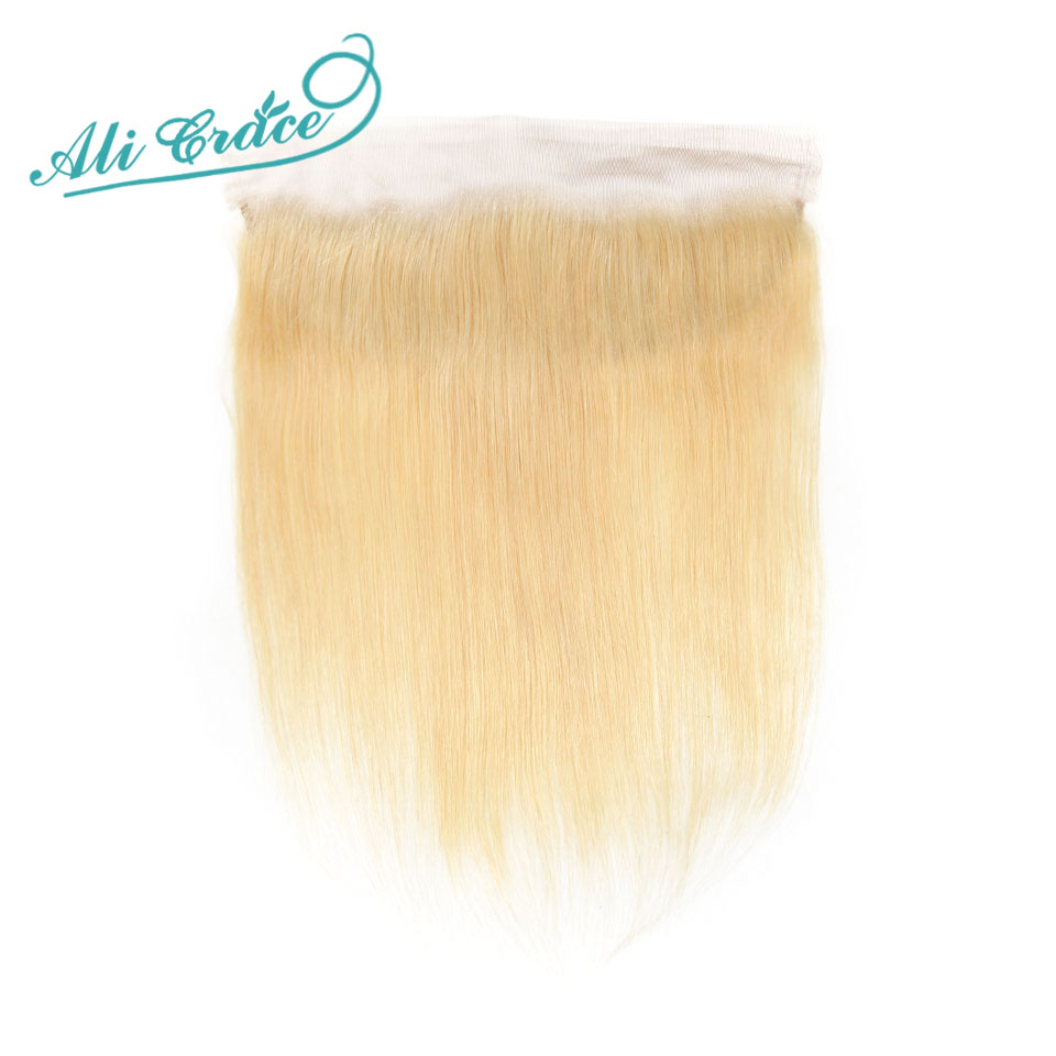 ALI GRACE Brazilian Straight 613 Blond 13x4 Lace Frontal Remy Ear to Ear Human Hair Frontal Can be dyed Free Shippping-in Closures from Hair Extensions & Wigs
