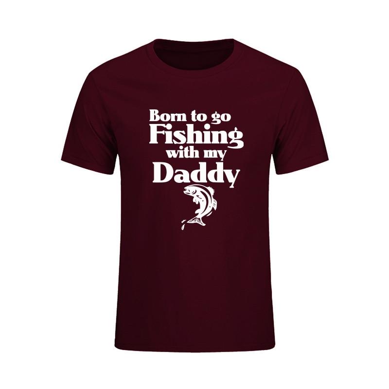 내 아빠와 함께 물고기를 태어나게해라 Letter Printed T Shirt for Men 2017 여름 캐주얼 반소매 넥 코튼 탑스 Tees Camisetas
