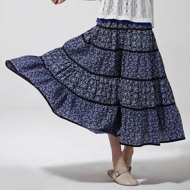 VANCL Casual Lindsey Graphic Women Maxi Skirt Stylish Long Skirt Blue/White FREE SHIPPING