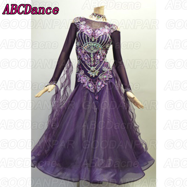 2018 New ballroom dance competition dresses Purple longsleeve standard ballroom dress,Waltz dance dress.