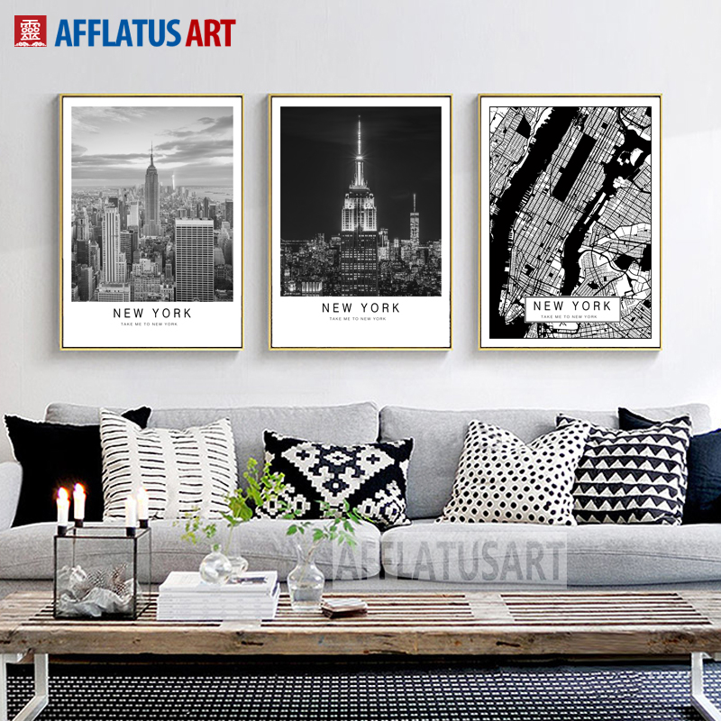 AFFLATUS New York Landscape Canvas Painting Nordic Poster Wall Art Posters And Prints Wall Pictures For Living Room Office Decor in Painting Calligraphy from Home Garden