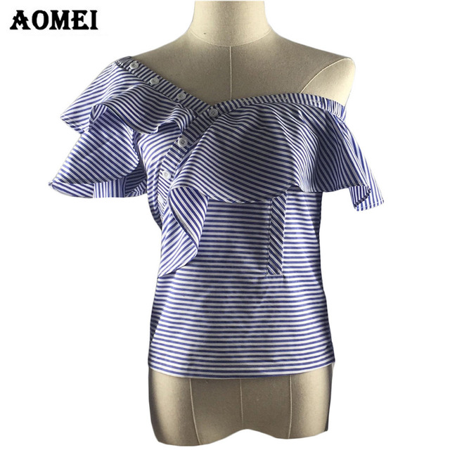 Blue Stripe Sleeveless Women Fashion Summer Blouse and Shirts 2017 New Slim Tops with Ruffles Trim One Shoulder Sexy Blusas