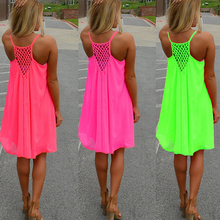 2016 Hot New Sexy Women's Summer Casual Sleeveless Strap Backless Beach Dress for Evening Party