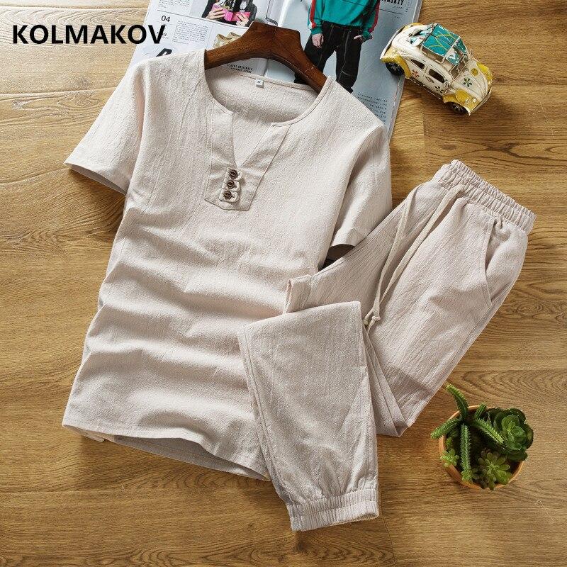 (Рубашка + брюки) новый стиль с коротким рукавом мужская рубашка из хлопка и мужские льняные рубашки высокого качества повседневные рубашки ...