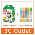 Оригинал Fujifilm фудзи-xerox Instax фильм 20 лист(ов) + 10 лист наклейки, Для фудзи 3 дюймов мгновенной фотографии мини 7 s 70 8 25 50 s 90