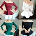 4 Color Hot Fashion Lady Spring Boat Neck off shoulder Long Sleeve Solid Color Cotton Tops Peplum Shirt Blouse  B19