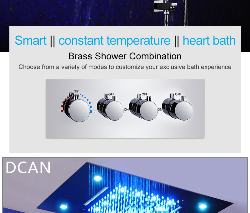 LED Ceiling Shower Head Rain Waterfall Shower Massage Jets Wall Mounted Panel Tap Sets Thermostatic Mixer (6)