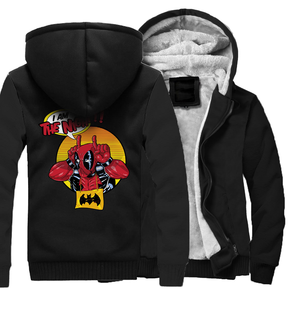 Fashion Jacket For Men 2018 Winter Autumn Thick Sweatshirt BATMAN DEADPOOL Funny Hoody Hip Hop Streetwear Men's Hoodies Jackets