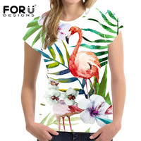 FORUDESIGNS Flamingos T shirt Street Women's t shirt Casual Young Girls T Shirts Femme Top Tee Harajuku Kawaii Feminism tshirt