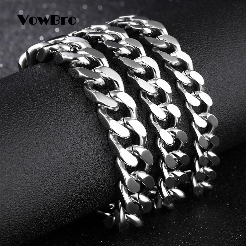 VowBro Mens Bracelet Chain Polished Stainless Steel Silver Chains Bracelet for Men Men